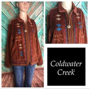 Coldwater Creek Embroidered Cotton Jacket